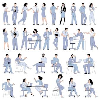 Płaska konstrukcja wektor postaci z kreskówek mężczyzn i kobiet pracujących w biurze, przestrzeni co-workingowej lub zdalnie w domu, freelancer.