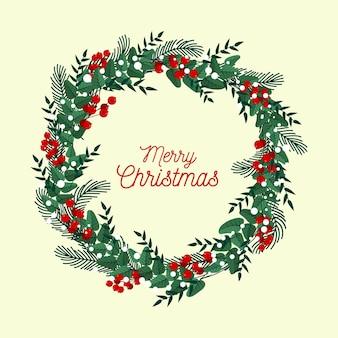 Płaska Konstrukcja Wieniec Bożonarodzeniowy Darmowych Wektorów