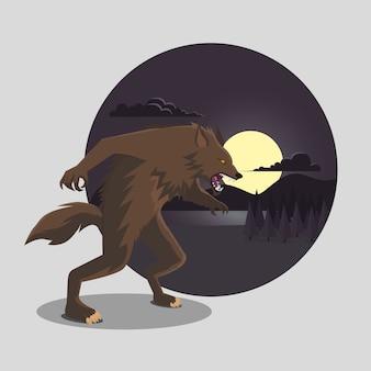 Płaska konstrukcja wilkołaka na halloween
