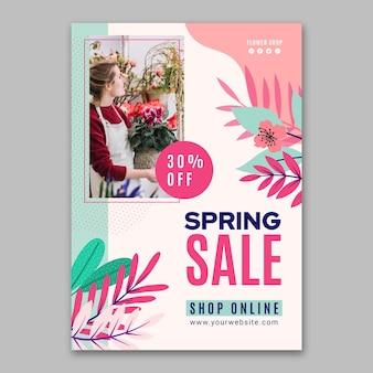 Płaska konstrukcja wiosennej sprzedaży pionowy szablon ulotki