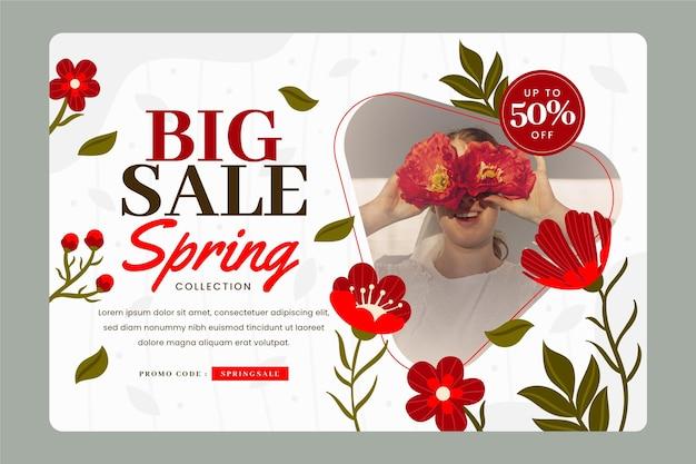 Płaska konstrukcja wiosennej sprzedaży