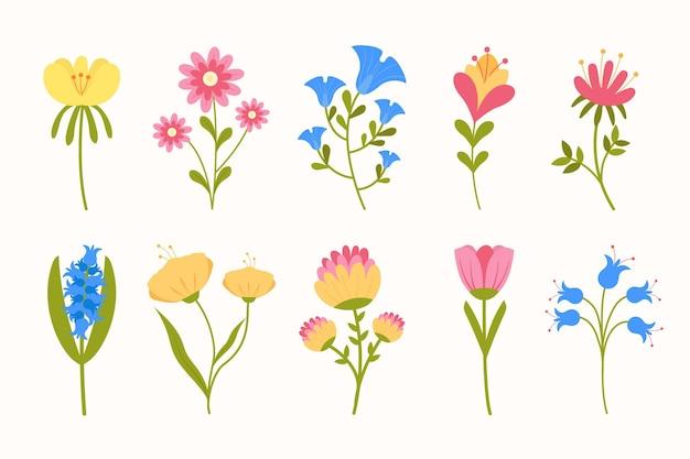 Płaska konstrukcja wiosna kwiat zestaw