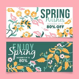 Płaska konstrukcja wiosna sprzedaż banery zestaw