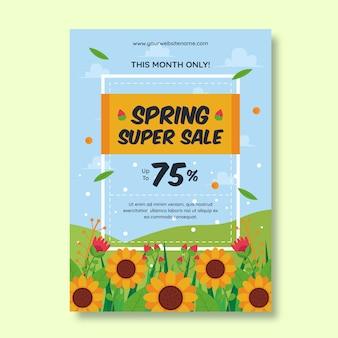 Płaska konstrukcja wiosna szablon ulotki sprzedaż