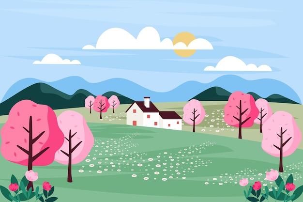 Płaska konstrukcja wiosny krajobraz