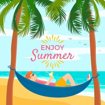 Płaska konstrukcja witaj lato ilustracja