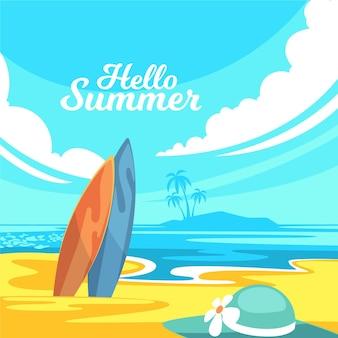 Płaska konstrukcja witam koncepcja lato
