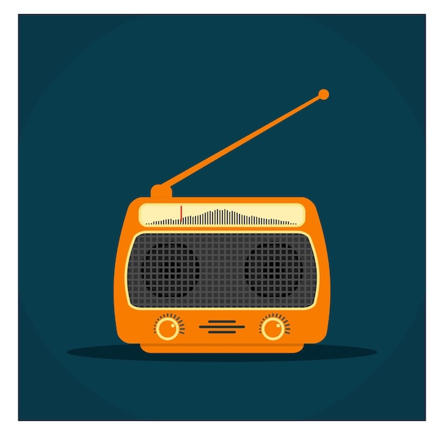 Płaska konstrukcja world radio day vintage