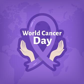 Płaska konstrukcja wstążki światowego dnia raka
