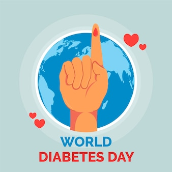 Płaska konstrukcja wydarzenia światowego dnia cukrzycy