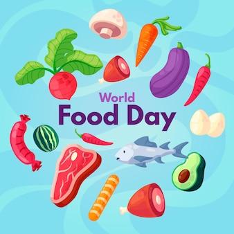 Płaska konstrukcja wydarzenia światowego dnia żywności
