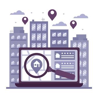 Płaska konstrukcja wyszukiwania nieruchomości za pomocą laptopa i lupy