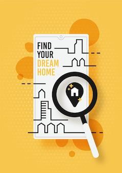 Płaska konstrukcja wyszukiwania nieruchomości za pomocą lupy