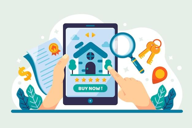 Płaska konstrukcja wyszukiwania nieruchomości za pomocą tabletu