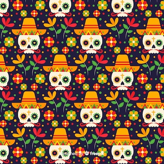Płaska konstrukcja wzoru dia de muertos