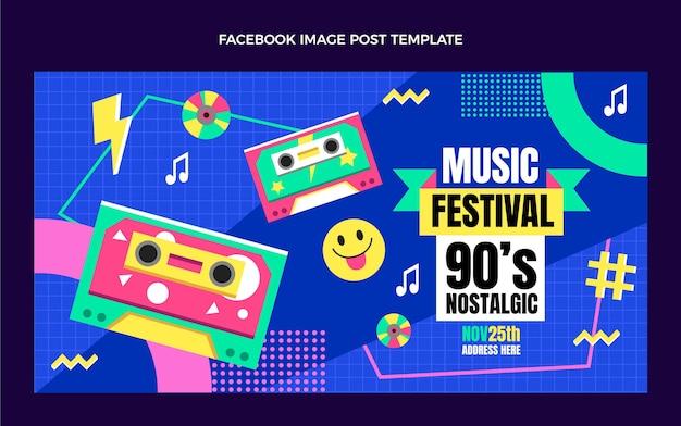 Płaska Konstrukcja Z Lat 90. Festiwal Muzyczny Na Facebooku Darmowych Wektorów