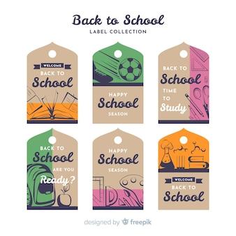 Płaska konstrukcja z powrotem do kolekcji odznak szkolnych
