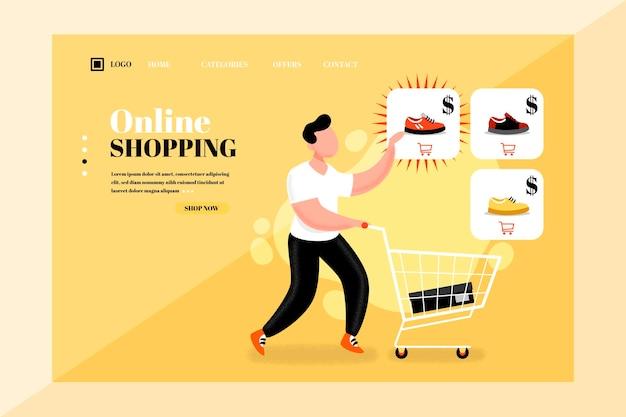 Płaska konstrukcja zakupy stylu szablonu strony docelowej online