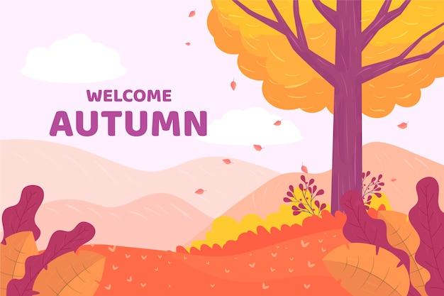 Płaska konstrukcja zapraszamy jesień tło z lasem