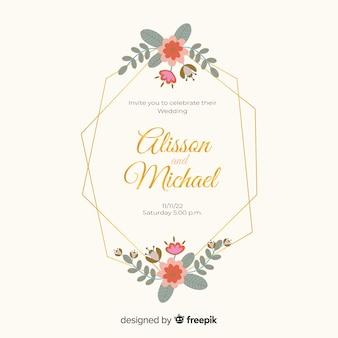 Płaska konstrukcja zaproszenia ślubne kwiatowy rama