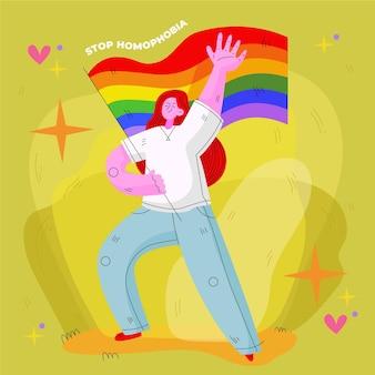 Płaska konstrukcja zatrzymania homofobii ilustracja koncepcja