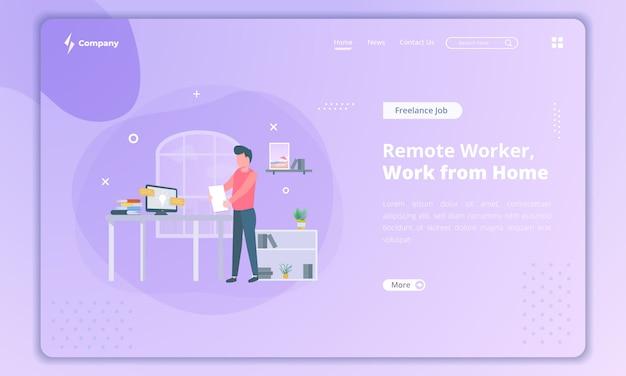 Płaska konstrukcja zdalnego pracownika jako freelancer, koncepcja pracy z domu na stronie docelowej
