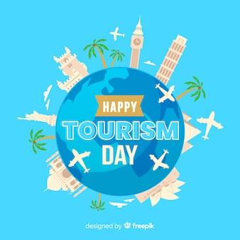 Płaska konstrukcja ze światowym dniem turystyki
