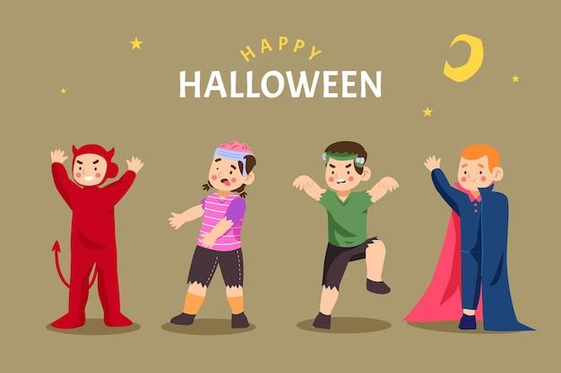 Płaska konstrukcja zestaw dla dzieci halloween