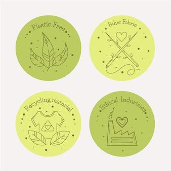 Płaska konstrukcja zestaw odznak slow fashion