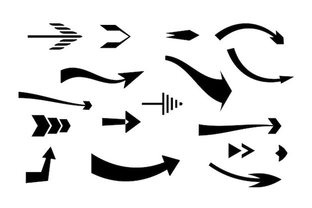 Płaska konstrukcja zestaw strzałki w prawo