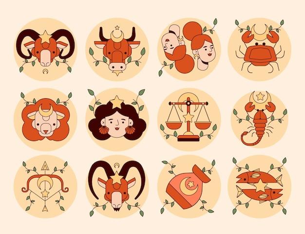 Płaska konstrukcja zestaw znaków zodiaku