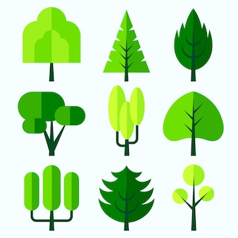 Płaska konstrukcja zestawu drzew