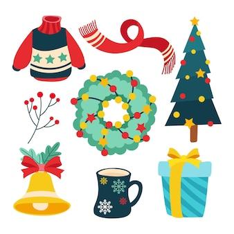 Płaska konstrukcja zestawu elementów świątecznych