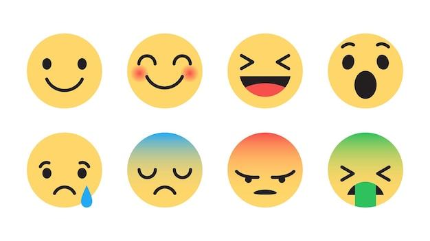 Płaska konstrukcja zestawu emoji z różnymi reakcjami dla sieci mediów społecznościowych na białym tle