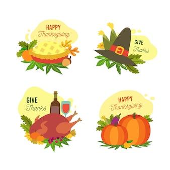 Płaska konstrukcja zestawu etykiet dziękczynienia
