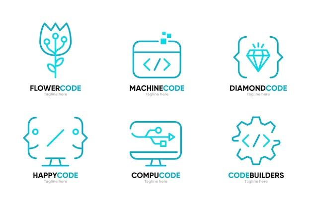Płaska konstrukcja zestawu szablonów logo firmy programowania