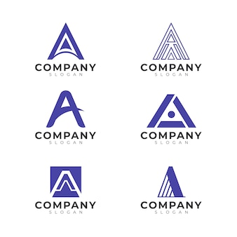 Płaska Konstrukcja Zestawu Szablonów Logo Darmowych Wektorów