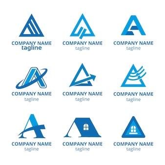 Płaska konstrukcja zestawu szablonów logo