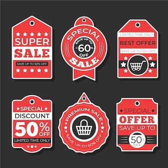 Płaska konstrukcja zestawu tagów sprzedaży