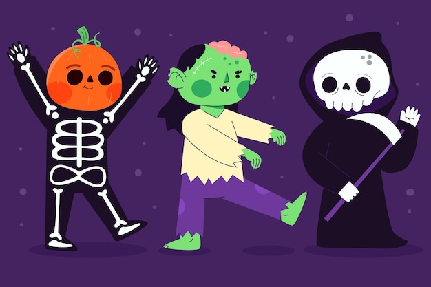 Płaska konstrukcja zestawu znaków halloween