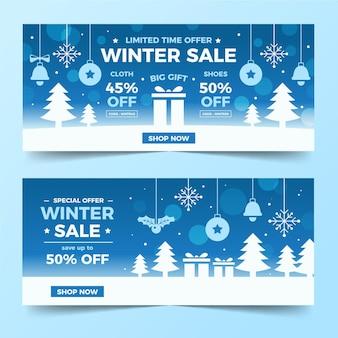 Płaska konstrukcja zima sprzedaż banerów szablon