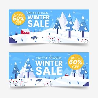 Płaska konstrukcja zimowa sprzedaż szablon banery