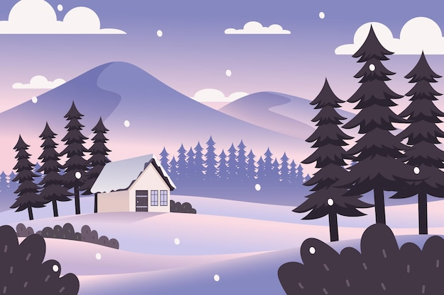 Płaska konstrukcja zimowego krajobrazu