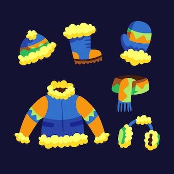 Płaska konstrukcja zimowego zestawu ubrań