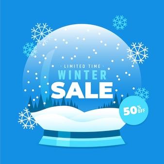Płaska konstrukcja zimowej koncepcji sprzedaży