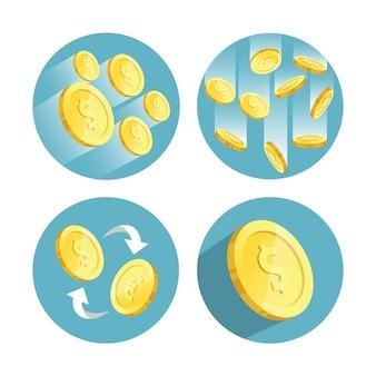 Płaska konstrukcja złota ilustracja zestaw