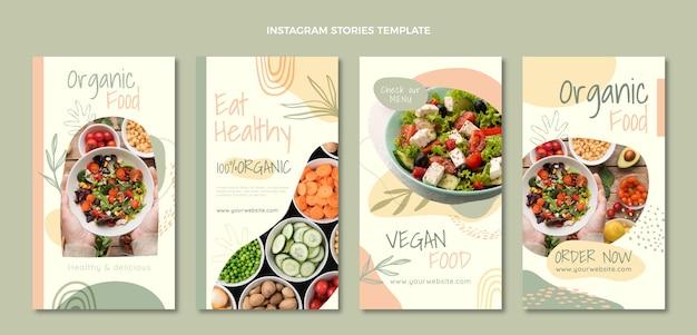 Płaska konstrukcja żywności ekologicznej historie na instagramie
