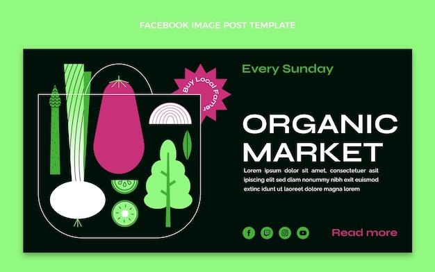 Płaska konstrukcja żywności ekologicznej na facebooku