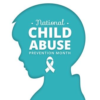 Płaska krajowa ilustracja miesiąca zapobiegania wykorzystywaniu dzieci