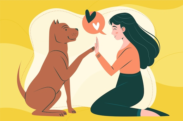 Płaska kreatywna ilustracja pitbull